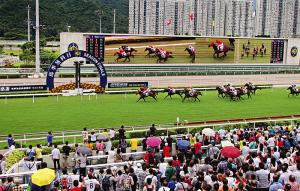 Corrida de cavalos, uma tradição de Hong Kong.